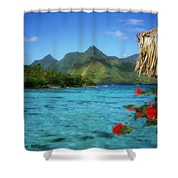 Shower Curtain featuring the painting Mountain Lake by Bruce Nutting