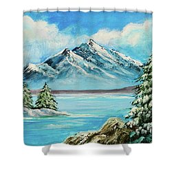 Shower Curtain featuring the painting Mountain Lake In Winter Original Painting Forsale by Bob and Nadine Johnston