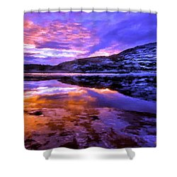 Shower Curtain featuring the painting Mountain Lake Sunset by Bruce Nutting