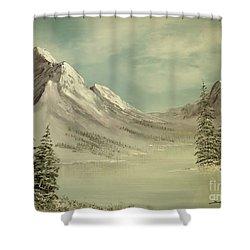 Mountain Lake Winter Scene Shower Curtain