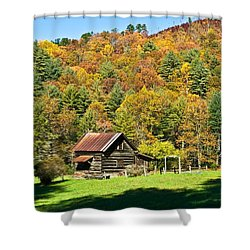 Mountain Log Home In Autumn Shower Curtain