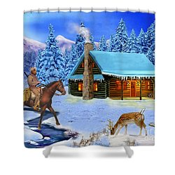 Mountain Man's Wilderness Shower Curtain