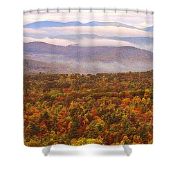 Mountain Mornin' In Autumn Shower Curtain by Lydia Holly