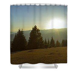 Mountain Panorama At Sunset With Beautiful Sun Glare Shower Curtain