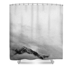 Mountain Peak In Clouds Shower Curtain by Peter v Quenter