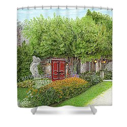 Shower Curtain featuring the painting Mountain Playhouse Jennerstown Pa by Albert Puskaric