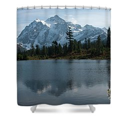 Mountain Reflection Shower Curtain by Rod Wiens