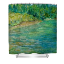 Mountain River In Oregon Colorful Original Oil Painting Shower Curtain by Elizabeth Sawyer