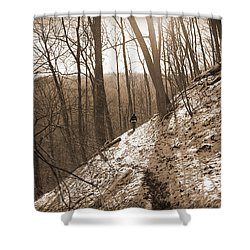 Mountain Side Shower Curtain by Melinda Fawver