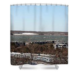 Mountain Side View Of Gardiner's Bay Shower Curtain by John Telfer