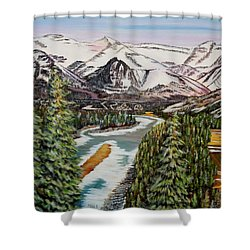 Shower Curtain featuring the painting Mountain Spring - Banff Springs by Marilyn  McNish