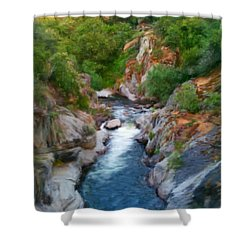 Shower Curtain featuring the painting Mountain Stream by Bruce Nutting