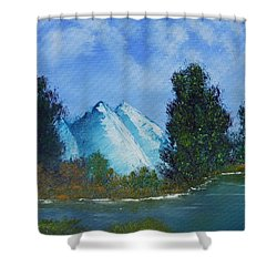 Shower Curtain featuring the painting Mountain Stream by Jennifer Muller