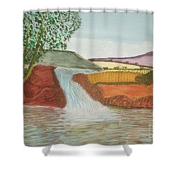 Shower Curtain featuring the painting Mountain Stream by Tracey Williams