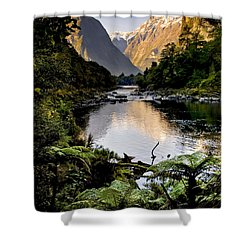 Mountain Valley Shower Curtain by Tim Hester