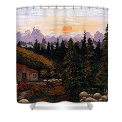 Mountain View Shower Curtain by Barbara Griffin