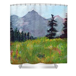 Mountain View Shower Curtain by C Sitton