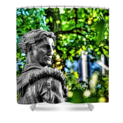 Mountaineer Statue In Trees Shower Curtain by Dan Friend
