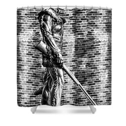 Mountaineer Statue With Black And White Brick Background Shower Curtain
