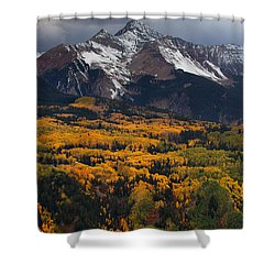 Mountainous Storm Shower Curtain by Darren  White