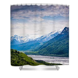 Mountains Along Seward Highway Shower Curtain by Andrew Matwijec