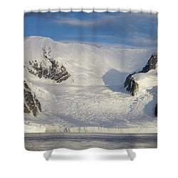 Mountains And Glacier At Sunset Shower Curtain by Suzi Eszterhas