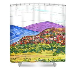 Mountains And South Mesa Shower Curtain by Kerry Bennett