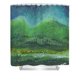 Shower Curtain featuring the painting Mountains At Night by Holly Carmichael
