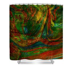 Shower Curtain featuring the mixed media Mountains In The Rain by Ally  White