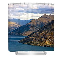Mountains Meet Lake Shower Curtain by Stuart Litoff