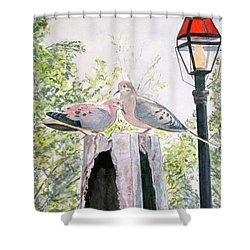 Shower Curtain featuring the painting Mourning Doves by Carol Flagg