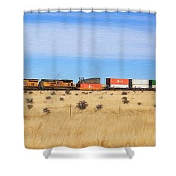 Moving America Across The Heartland Shower Curtain by Donna Kennedy