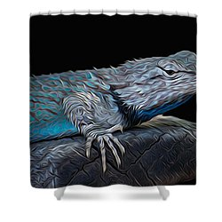 Mr Blu Shower Curtain by Michael Moriarty