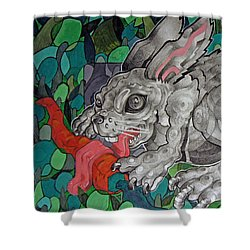 Mr Greedy Bunny Shower Curtain