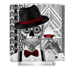 Mr. J.d. Vanderbone - Day Of The Dead 1920's Sugar Skull - Copyrighted Shower Curtain