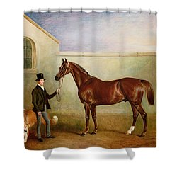 Mr Meakin Holding Sir Robert Peels Chestnut Hunter With His Dogs Hector And Jem Shower Curtain by John E Ferneley