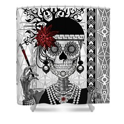 Mrs. Gloria Vanderbone - Day Of The Dead 1920's Flapper Girl Sugar Skull - Copyrighted Shower Curtain