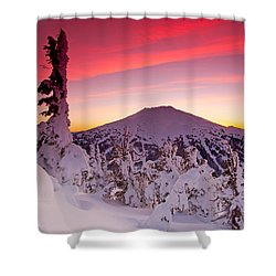 Mt. Bachelor Winter Twilight Shower Curtain
