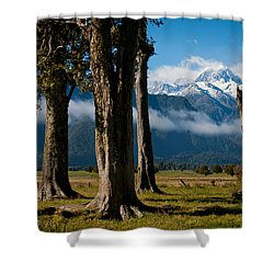 Mt Cook Through Trees Shower Curtain