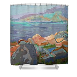 Shower Curtain featuring the painting Mt. Desert From Schoodic Point by Francine Frank