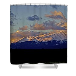 Mt Elbert Sunrise Shower Curtain by Jeremy Rhoades