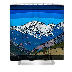 Shower Curtain featuring the painting Mt Gardner In The Spring Abstract Painting  by Omaste Witkowski