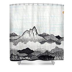 Mt. Himang Shower Curtain by Taikan Nishimoto