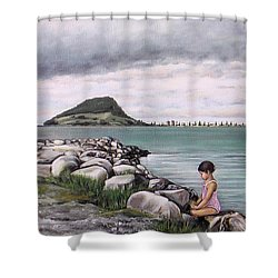 Mt Maunganui 140408 Shower Curtain by Sylvia Kula