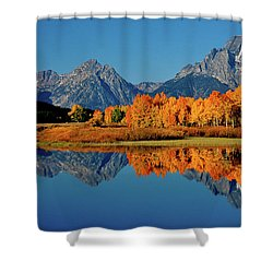 Mt. Moran Reflection Shower Curtain by Ed  Riche