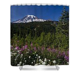 Mt. Rainier Shower Curtain by Adam Romanowicz