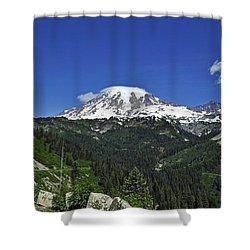 Mt Rainier Between The Valley Shower Curtain