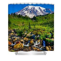 Mt. Rainier Stream Shower Curtain by Chris McKenna