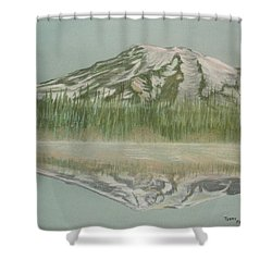 Shower Curtain featuring the pastel Mt Rainier by Terry Frederick