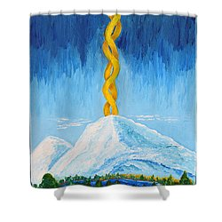 Shower Curtain featuring the painting Mt. Shasta by Cassie Sears